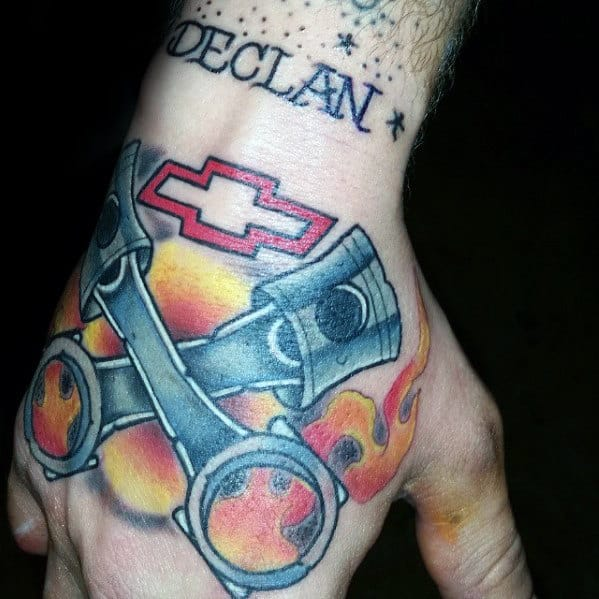 Mens Flaming Pistons Chevy Logo Hand Tattoo With Old School Design