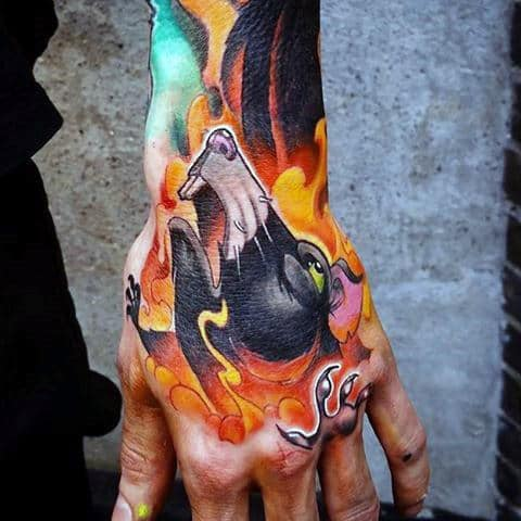 Mens Flaming Rat Hand Tattoo Designs
