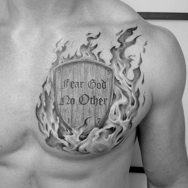 Mens Flaming Shield Fear God No Other Upper Chest Tattoo Ideas