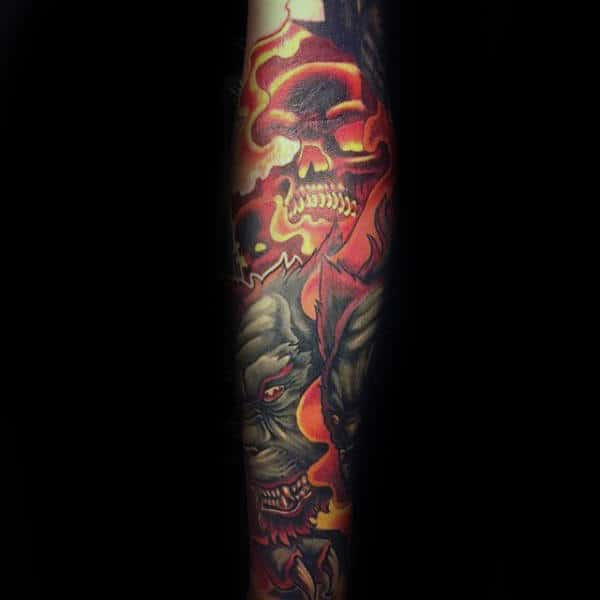 Mens Flaming Skull Cerberus Forearm Sleeve Tattoo Ideas