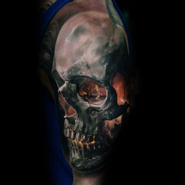 Mens Flaming Skull Realistic 3d Half Sleeve Tattoo