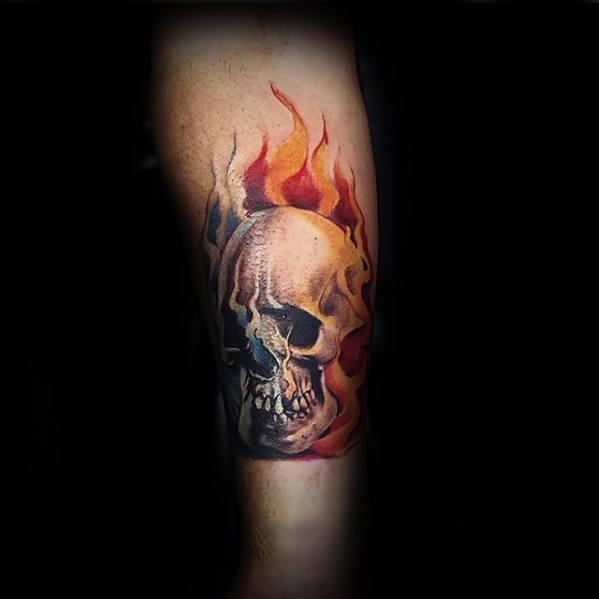 Mens Flaming Skull Tattoo Design Inspiration Legs