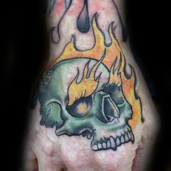 Mens Flaming Skull Tattoo Ideas On Hands