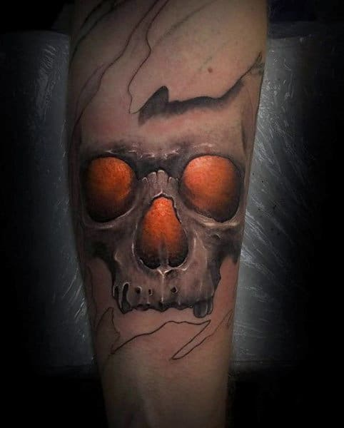 Mens Flaming Skull Tattoo On Forearm