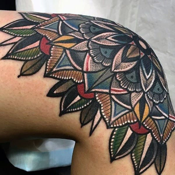Mens Floral Knee Tattoo With Colorful Ink Design