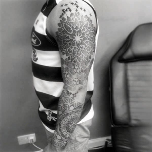 Mens Floral Pattern Full Sleeve Pointillism Tattoo Inspiration