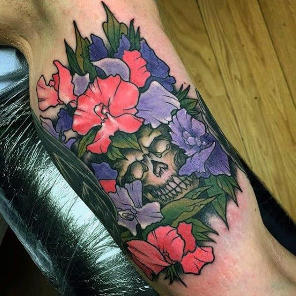 Mens Floral Skull Inner Arm Tattoo Designs