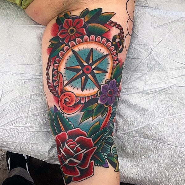 Mens Floral Traditional Compass Old School Leg Tattoo Designs