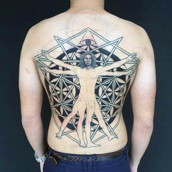 Mens Flower Of Life Vitruvian Man Back Tattoo