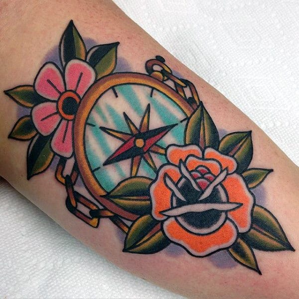 Mens Flowers With Traditional Compass Old School Arm Tattoos