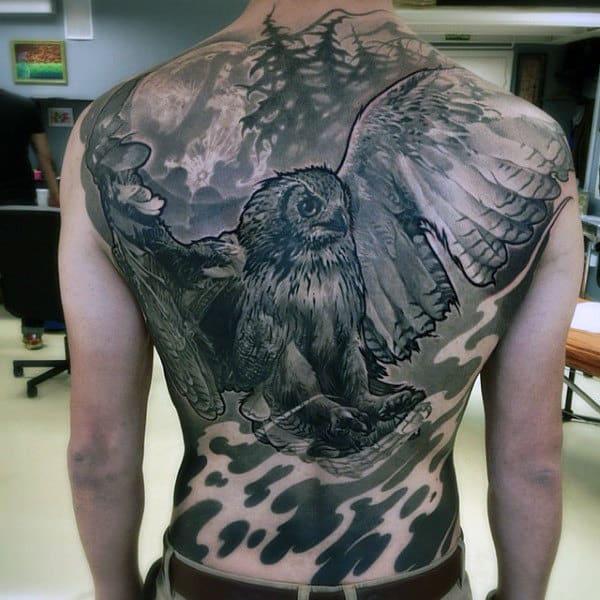 Mens Flying Owl Black Ink Back Tattoo