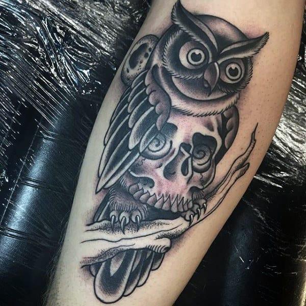 Men's Flying Owl Tattoo