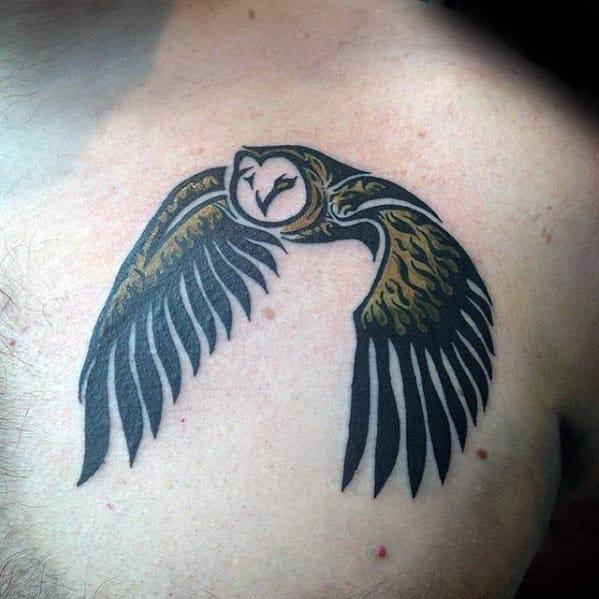 Mens Flying Owl Tribal Upper Chest Tattoo