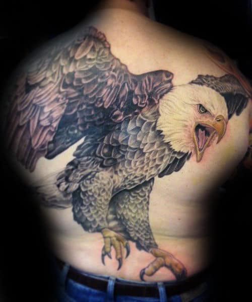 Mens Flying Realistic 3d Bald Eagle Tattoo Design On Back