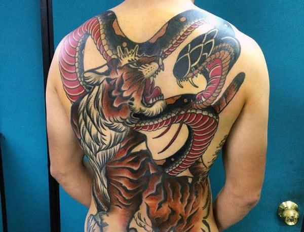 Men's Flying Tiger Tattoo