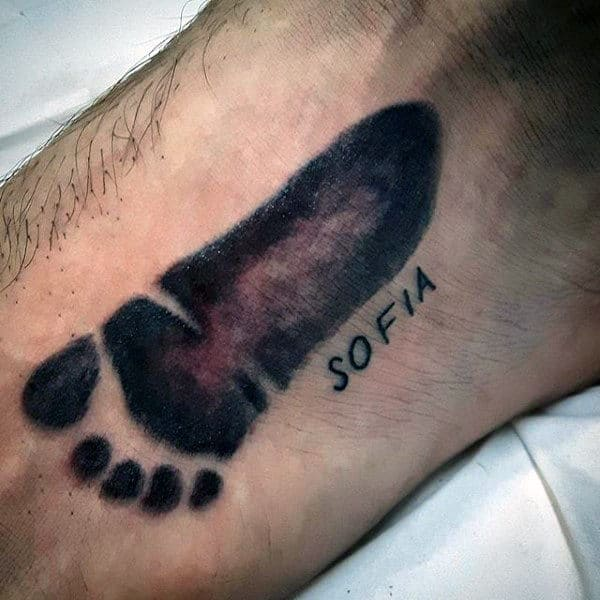Mens Foia Footprint Tattoo On Foot