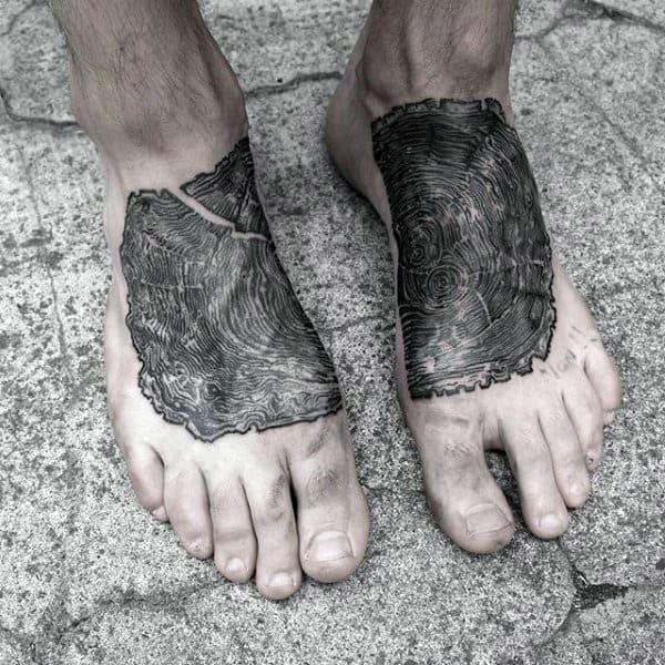 Mens Foot Oak Tree Wood Piece Tattoo