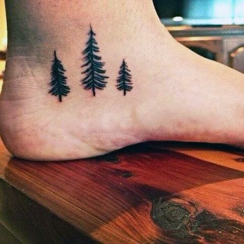 70 pine tree tattoo ideas for men wood in the wilderness for Mens foot tattoos