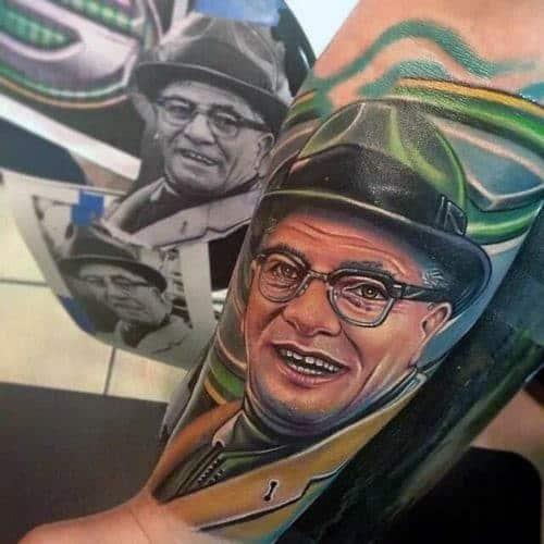 Mens Football Green Bay Packers Coach Memorial Forearm Sleeve Tattoos
