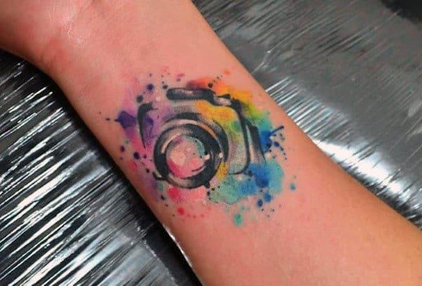 Mens Forearm Abstract Camera Tattoo