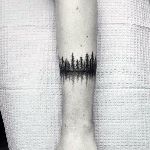 Mens Forearm Band Tree Forest Small Tattoo Ideas