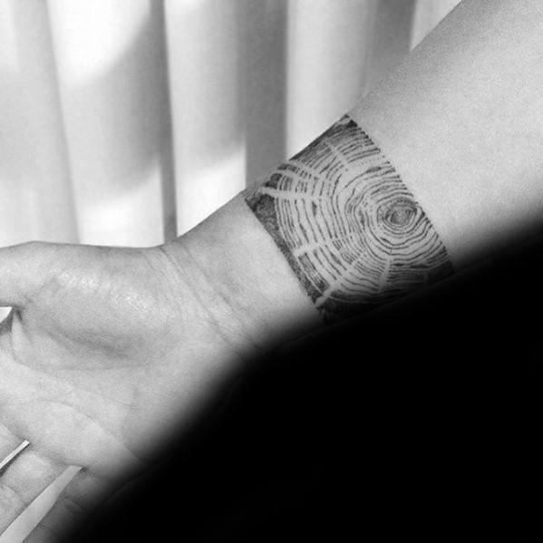 Mens Forearm Band Woodgrain Tree Small Tattoo Ideas