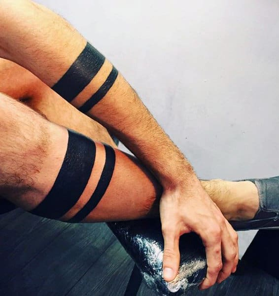Mens Forearm Black Band Tattoos
