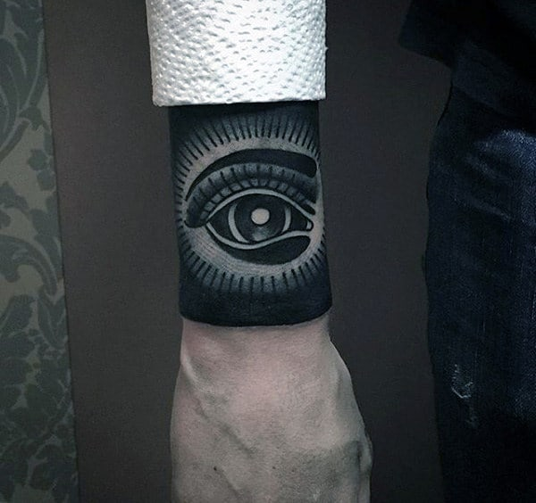 Mens Forearm Black Eye Patch Tattoo