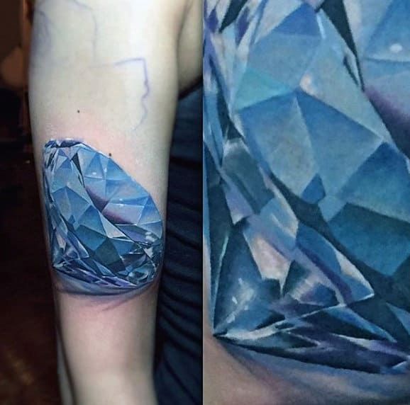 Mens Forearm Blue 3d Diamond Tattoo Design