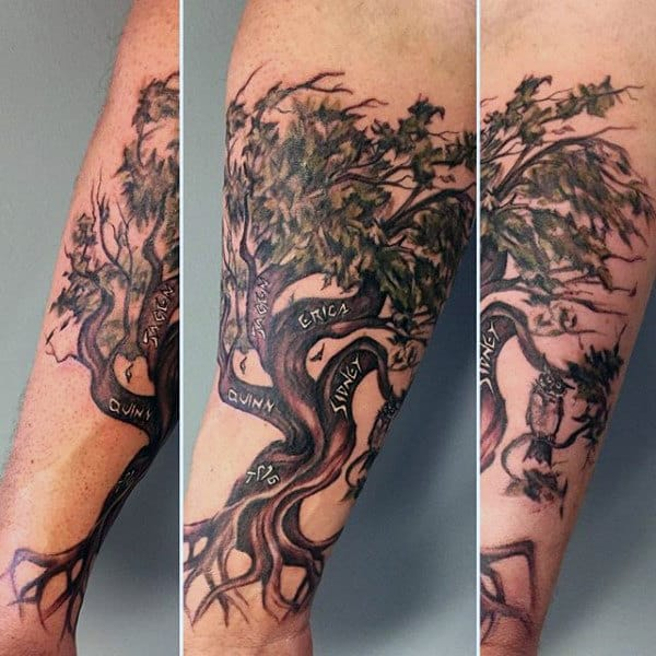 Mens Forearm Carved Family Tree Tattoo Designs