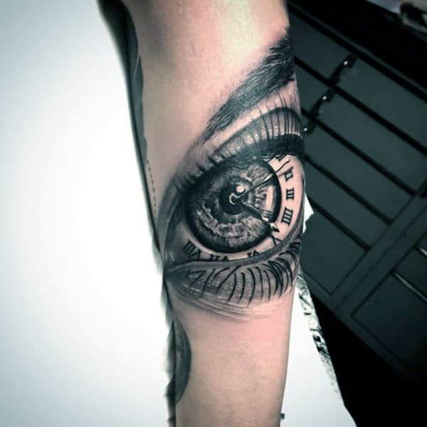 Mens Forearm Eye Roman Numeral Clock Tattoo Design Ideas