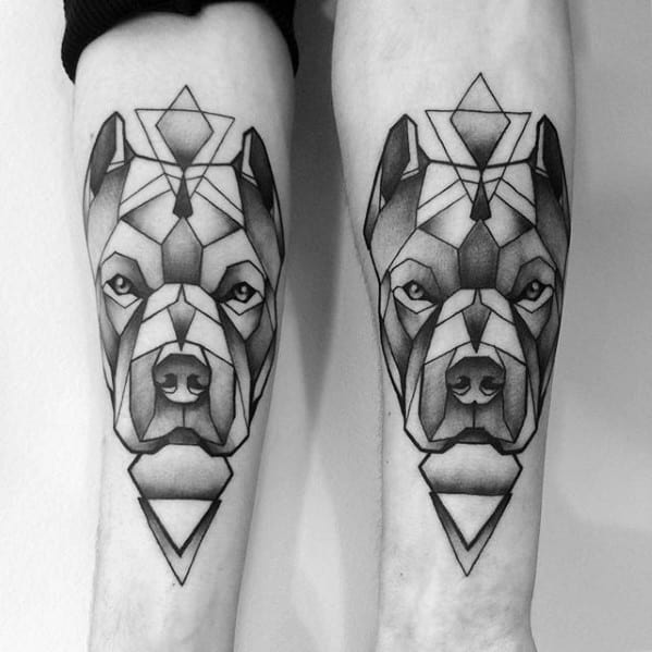 Mens Forearm Geometric Pitbull Dog Tattoo Design Ideas
