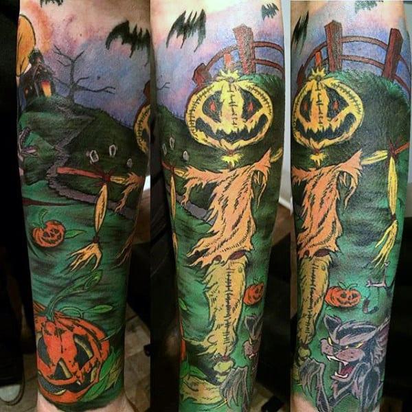 Mens Forearm Green Fields And Pumpkin Halloween Tattoo