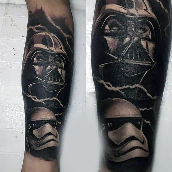 Mens Forearm Grey Darth Vader Tattoo