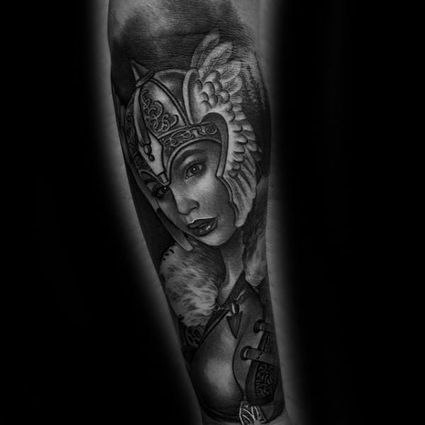 Mens Forearm Heavily Shaded Valkyrie Tattoo Ideas