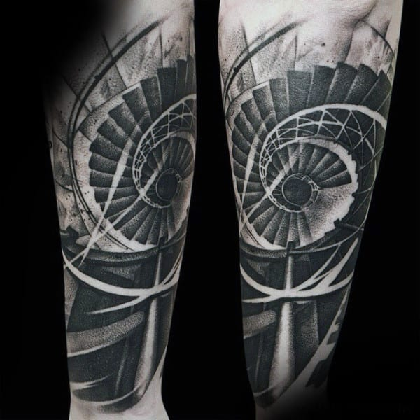 Mens Forearm Interesting Tattoo Of Spiralling Staircase