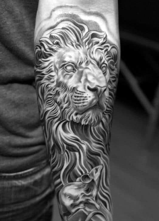 Mens Forearm Lion And Mouse Sleeve Tattoo