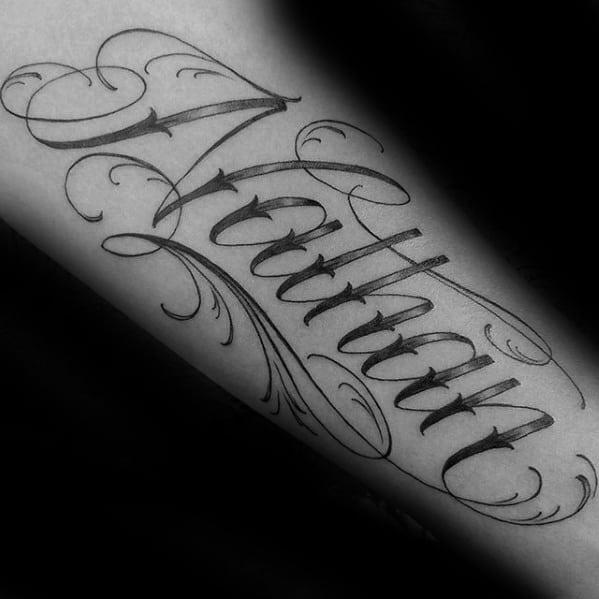 Mens Forearm Name Nathan Tattoo Design