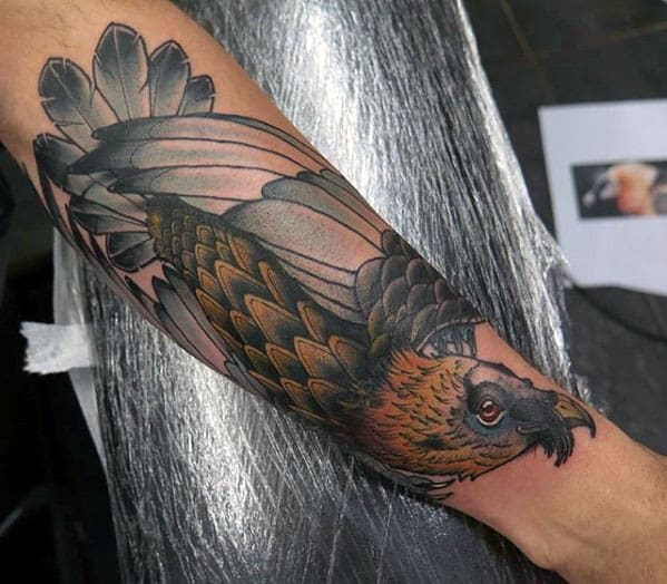 Mens Forearm Neo Traditional Vulture Tattoo Design Ideas