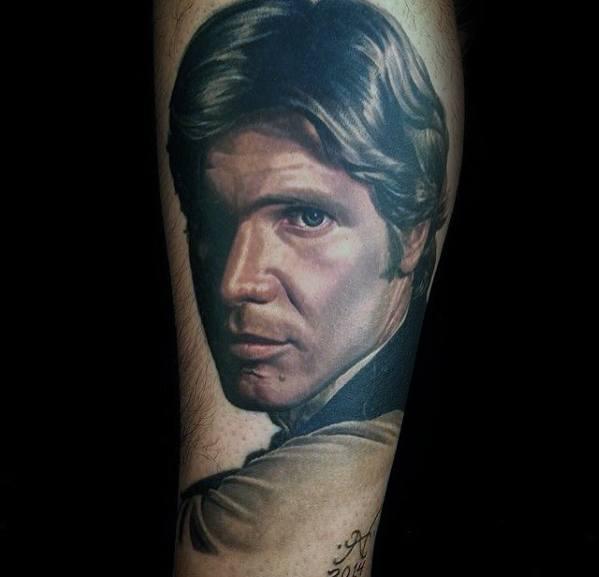 Mens Forearm Realistic Portrait Tattoo Ideas With Han Solo Design