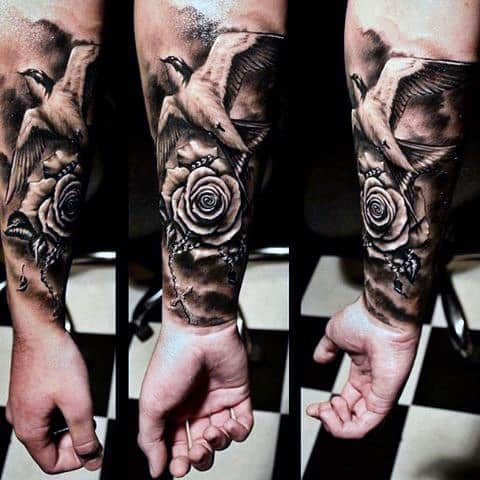Mens Forearm Realistic Rose And Sparrow Tattoo