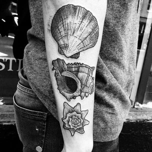Mens Forearm Seashells Tattoos
