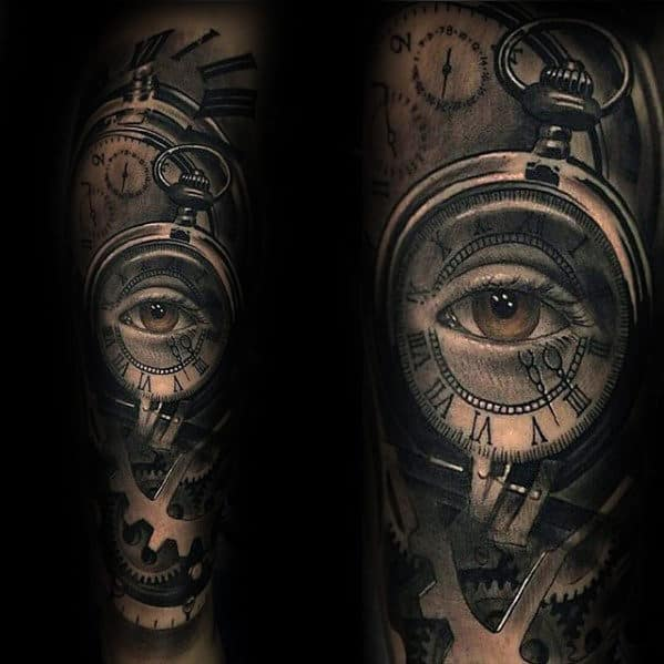 Mens Forearm Sleeve 3d Pocket Watch Gears Tattoo