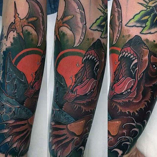 Mens Forearm Sleeve Bear Claw Tattoos