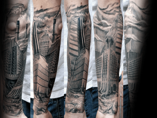 Mens Forearm Sleeve Building Skyscraper City Tattoo