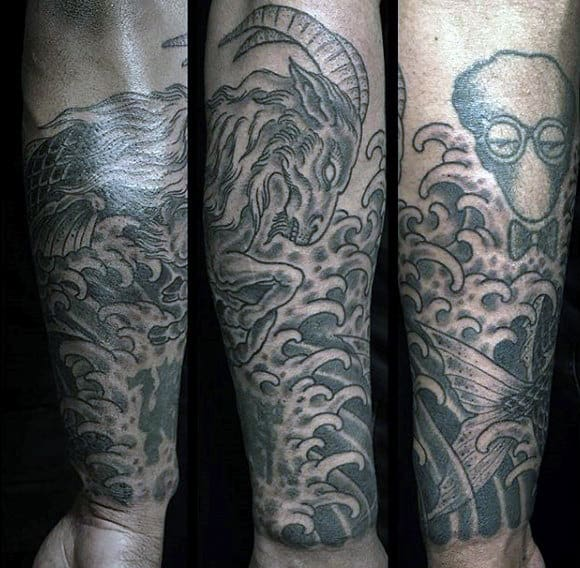 Mens Forearm Sleeve Capricorn Tattoo Ideas