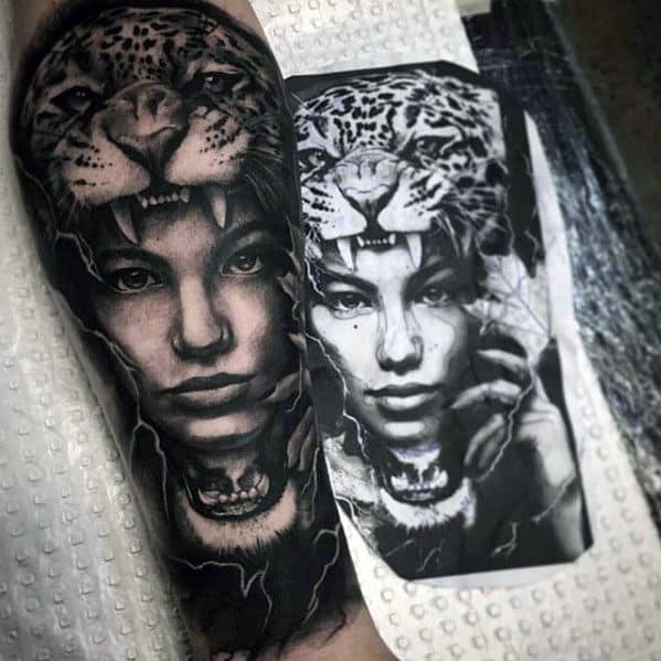 Mens Forearm Sleeve Cheetah With Female Portrait Realistic Tattoo