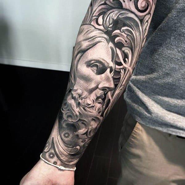 Mens Forearm Sleeve Decorative Jesus Tattoo Ideas