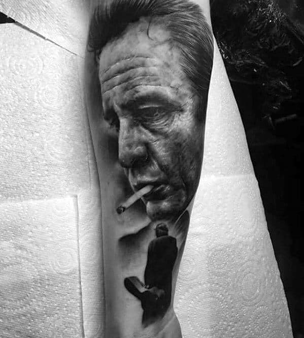 Mens Forearm Sleeve Heavily Shaded Johnny Cash Tattoo Design Inspiration