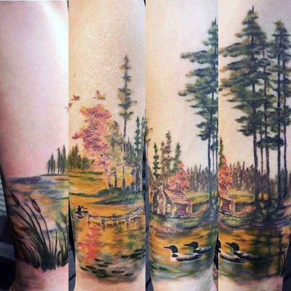 Mens Forearm Sleeve Landscape Pond Tattoos
